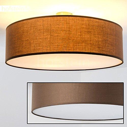 Deckenleuchte Foggia Stoffschirm Ø 60 cm Durchmesser für Wohnzimmer, Schlafzimmer, Kinderzimmer oder als Flurlicht mit 40 Watt in der Farbe braun