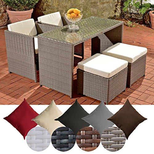 CLP Polyrattan-Gartengarnitur TAHITI | Sitzgruppe mit 4 Sitzplätzen | Komplett-Set mit 2 Stühlen, 2 Hockern und 1 Tisch | In verschiedenen Farben erhältlich Rattanfarbe: Grau, Bezugfarbe: Cremeweiß