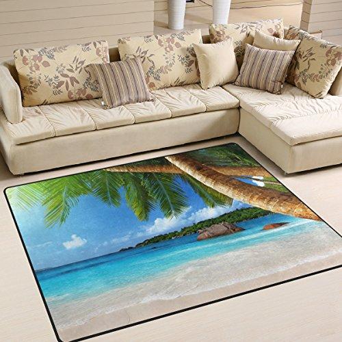 Naanle Tropischer Strand mit Palme rutschfeste Bereich Teppich für Dinning Wohnzimmer Schlafzimmer Küche, X5(120x 160cm (4m) mit Coconut Baum Blätter Kinderzimmer-Teppich Boden Teppich Yoga-Matte