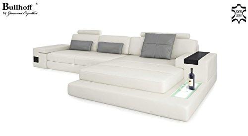 Ledersofa Couch Ecksofa weiß / grau Eckcouch L-Form Wohnlandschaft Ledercouch mit LED-Licht Beleuchtung Designsofa HAMBURG III