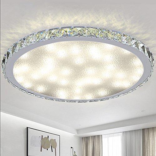 VINGO® 48W LED Deckenleuchte Crystal Dekor Wohnzimmer Funkel Deckenbeleuchtung Rund mit Fernbedienung Badleuchte Kristall Küchenleuchte Effektlicht Panel angenehmes Licht