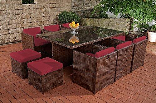 CLP XXL Polyrattan-Sitzgruppe MAUI   Gartengarnitur bestehend aus 6 Sesseln, 4 Hockern und einem Esstisch   Sitzgruppe für 10 Personen   In verschiedenen Farben erhältlich Rattan: braun-meliert   Bezüge: Rubinrot