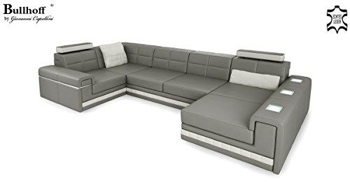 Leder Wohnlandschaft Sofa weiß / grau Couch Ecksofa Ledersofa Designsofa Ledercouch Eckcouch U-Form mit LED-Licht Beleuchtung AVERSA II