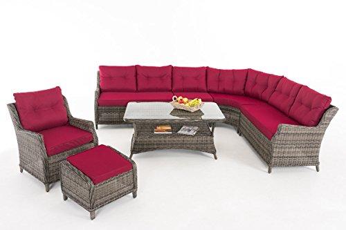 CLP Gartengarnitur PANDORA   Sitzgruppe mit 8 Sitzplätzen   Gartenmöbel-Set aus Polyrattan   Komplett-Set bestehend aus einem Ecksofa, einem Sessel und einem Beistelltisch   In verschiedenen Farben erhältlich   Rattanfarbe: Grau-meliert, Kissenfarbe: Rubinrot