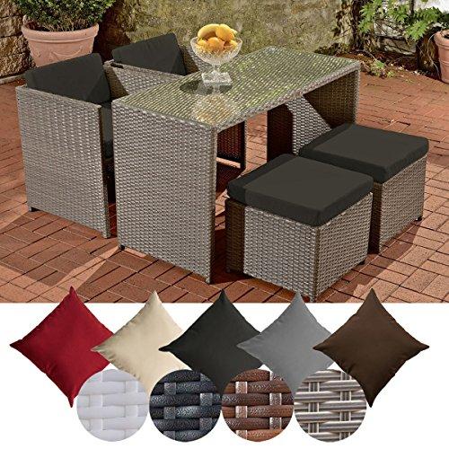CLP Polyrattan-Gartengarnitur TAHITI | Sitzgruppe mit 4 Sitzplätzen | Komplett-Set mit 2 Stühlen, 2 Hockern und 1 Tisch | In verschiedenen Farben erhältlich Rattanfarbe: Grau, Bezugfarbe: Anthrazit
