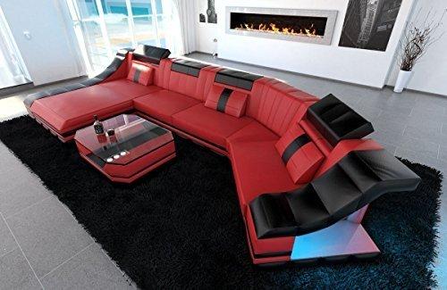 Leder Wohnlandschaft Turino C Form rot-schwarz Sofa Ledersofa Couch Ledercouch Ecksofa LED Licht Kopfstützen Designersofa