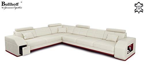 Leder Wohnlandschaft L-Form weiß / grau Ecksofa Sofa Couch Ledersofa Ledercouch mit LED-Licht Beleuchtung Designsofa FRANKFURT II