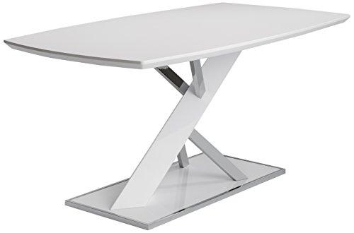 CAVADORE Esszimmertisch GONZO/edler Esstisch in extravagantem Design/Tischplatte und Säule MDF Hochglanz weiß/Säule in Beton Optik/Bodenplatte Rand verchromt/160 x 90 x 76 cm (BxTxH)