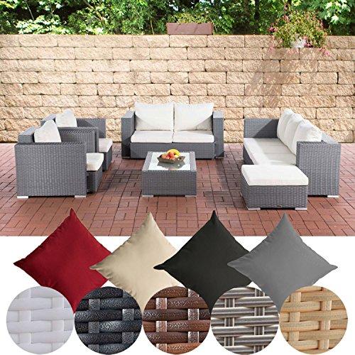 CLP Gartengarnitur PROVENCE | Sitzgruppe mit 7 Sitzplätzen | Gartenmöbel-Set aus Polyrattan | In verschiedenen Farben erhältlich Grau, Bezugsfarbe: Cremeweiß