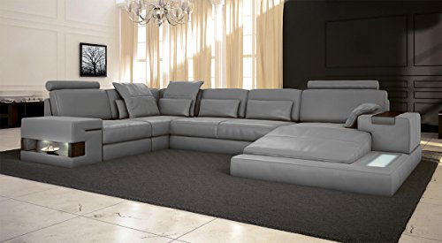 Leder Wohnlandschaft XXL Sofa weiß grau Couch Ecksofa Ledersofa Ledercouch Eckcouch U-Form mit LED-Licht Beleuchtung Designsofa HAMBURG