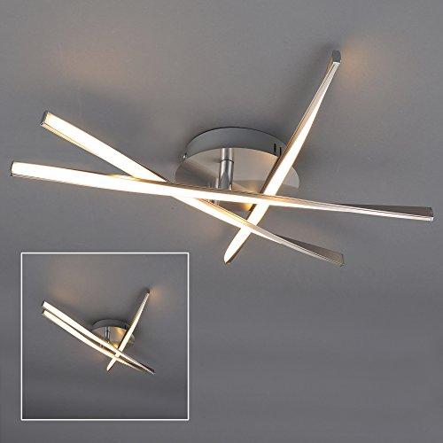 Briloner Leuchten LED Deckenleuchte, Geschwungene Verstellbare Leuchtarme, 3 x 5 W, Metall, Matt-Nickel, 53 x 53 x 8.5 cm
