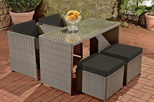 CLP Polyrattan-Gartengarnitur TAHITI   Sitzgruppe mit 4 Sitzplätzen   Komplett-Set mit 2 Stühlen, 2 Hockern und 1 Tisch   In verschiedenen Farben erhältlich Rattanfarbe: Grau, Bezugfarbe: Anthrazit