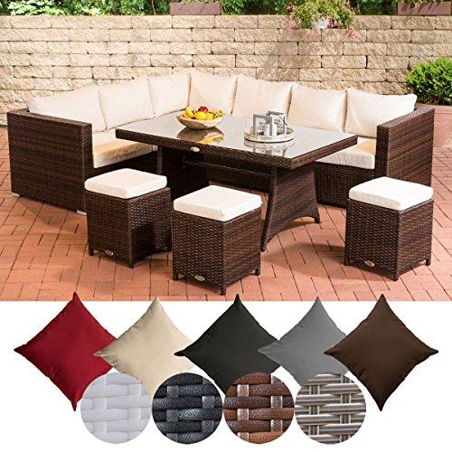 CLP Gartengarnitur SORANO | Sitzgruppe mit 8 Sitzplätzen | Gartenmöbel-Set aus Polyrattan | In verschiedenen Farben erhältlich Bezugfarbe: Cremeweiß, Rattanfarbe: Braun-meliert