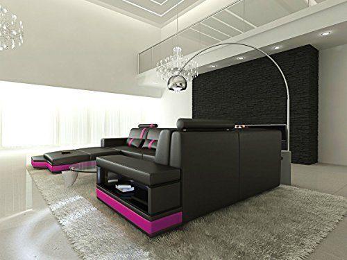 Leder Wohnlandschaft Messana U Form schwarz-pink