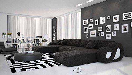 Riesige Wohn-Landschaft aus Microfaser 485x242 cm U-Form schwarz | Montana-U | Designer Couch-Garnitur im XXL Format mit 2 Ottomanen | Polster-Ecke für Wohnzimmer schwarz 485cm x 242cm