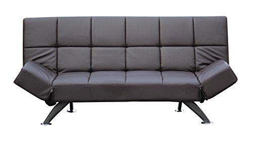 Schlafsofa Klappcouch Rückenteil und Armlehnen verstellbar Kunstleder braun - 2/3er Sitzer