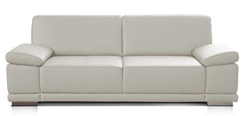 Cavadore 3,5-Sitzer Sofa Corianne in Kunstleder / Großes Ledersofa in hochwertigem Kunstleder und modernem Design /Mit Armteilverstellung / Größe: 248 x 80 x 99 (BxHxT) / Bezug in Kunstleder weiß