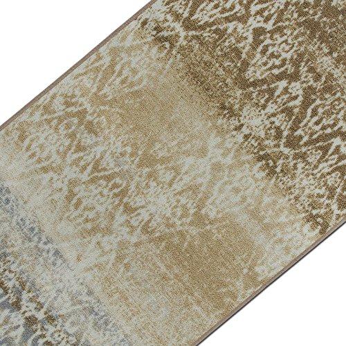 Vintage Teppichläufer | im angesagten Shabby Chic Look | hochwertige Meterware, gekettelt | Kurzflor Teppich Läufer | Küchenläufer, Flurläufer (Beige,80x150 cm)