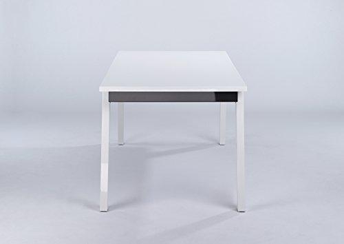 CAVADORE Esszimmertisch STEVEN/Esstisch in modernem Design/Hochglanz Weiß/Zarge in Hochglanz Anthrazit/160x90x76 cm (LxBxH)