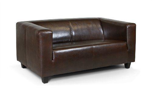 B-famous 2-Sitzer Sofa Kuba 149 x 88 cm, Kunstleder, braun