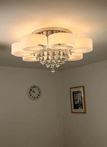 Natsen® 49W Kristall Deckenleuchte 7-flammig LED E27 warmweiß Ø90cm Designer Wohnzimmer Lampe