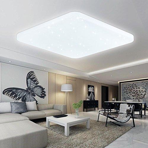 VINGO® 60W LED weiß Eckig Deckenleuchte Starlight Deckenbeleuchtung Himmel Schlafzimmer Wandlampe Mordern Badleuchte Wand-Deckenleuchte Leuchte AC176V-242V Wohnzimmer lampe 6000K-6500K