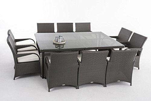 CLP Polyrattan XXL Sitzgruppe PIZZO   Gartengarnitur bestehend aus 10 Stühlen und einem Tisch   In verschiedenen Farben erhältlich Rattanfarbe: Grau, Bezugsfarbe: Creme