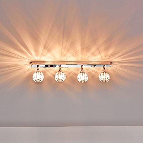 Deckenleuchte / Deckenlampe von [lux.pro]® - Modernes Design: Kristall-Kugeln auf Aluminium & Kunst-Kristall - 49 cm Leuchte - 4 x G9 Sockel - Lampe für Wohnzimmer & Schlafzimmer