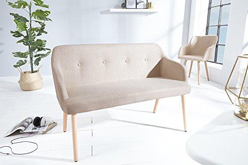 Exklusive Design Sitzbank SCANDINAVIA natur mit Armlehne Bank Buche Gestell im Retro Trend