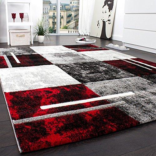 Designer Teppich Modern mit Konturenschnitt Karo Muster Grau Schwarz Rot, Grösse:160x230 cm