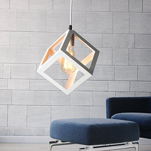 KINGSO E27 Lampenfassung Pendelleuchte Hängelampe Kronleuchter Persönlichen modernen künstlerische Deckenleuchte Wandleuchte für Bar, Restaurant, Wohnzimmer weiß