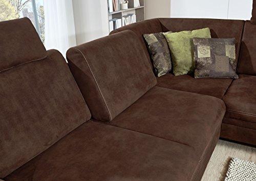Cavadore 3-Sitzer Couch Hussum / Polsterecke mit Federkern in Wildlederoptik / Inkl. Ottomane rechts und Sitztiefenverstellung  / Größe: 269 x 90 x 219 cm (BxHxT) / Farbe: Dunkelbraun (Tonka dunkelbraun)