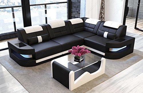 Ledersofa Como L Form schwarz-weiss Sofa Couch Ecksofa Designersofa Ledercouch Kopfstützen beleuchtung LED Licht uvm.