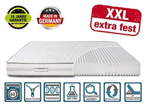 DIREKT VOM HERSTELLER - MADE IN GERMANY Matratze XXL Härtegrad 4 (H4) bis 150kg 100x200 Höhe 23cm | mit SilverCare Borderbezug | Klimaband für beste Belüftung | extra hart | hochwertig