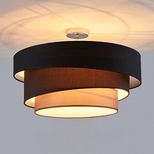 Deckenleuchte Runde Deckenlampe Decken Beleuchtung Wohnzimmer Schlafzimmer Esszimmer Küche Flur Licht Stoff Metall Lampe 3 Farbe Schwarz Braun Grau D56cm * H36.8cm 3 x 60 W E27 Chrom