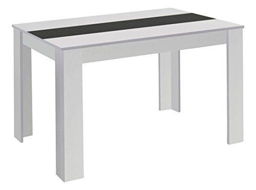 CAVADORE Esstisch NICO / Moderner, praktischer Küchentisch 160 x 90 cm in Melamin Weiß mit Mittelplatte in weiß oder schwarz / Esszimmertisch in Weiß  / 160 x 90 x 75 cm (L x B x H)