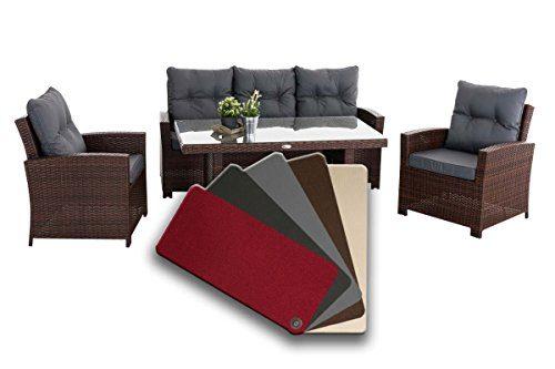 CLP 10er Kissen Set für Gartengarnitur FISOLO Flachrattan, aus 100% Polyester, bis zu 5 Farben wählbar Anthrazit