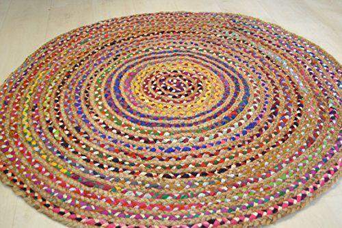 150150cm rund Jute mit farbigen Baumwolle Shabby Chic Kreis Teppich Rustikaler Stil für alle Räume