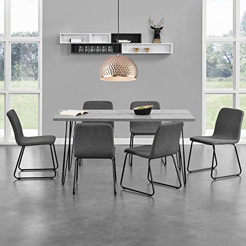 [en.casa]® Esstisch mit Hairpinlegs - Beton-Optik - 160cm x 75cm x 77 + 6 x Design-Stuhl - mit Textil-Bezug - Dunkelgrau - im Set