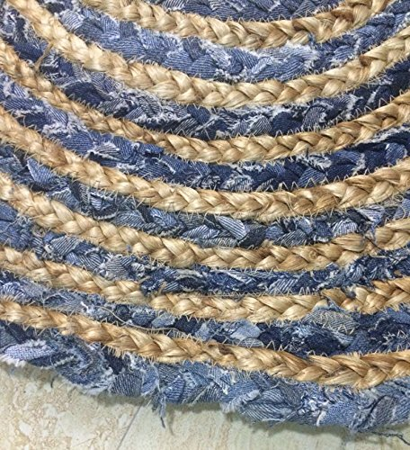 Maße 120x 120cm RUND Jute mit Denim Shabby Chic Kreis Teppich Rustikaler Stil für alle Räume