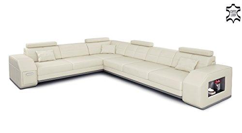 leder wohnlandschaft l form wei grau ecksofa sofa couch. Black Bedroom Furniture Sets. Home Design Ideas