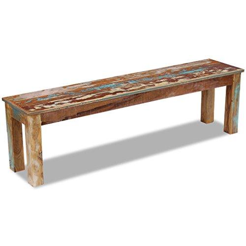 Festnight Retro-Stil Holzbank Sitzbank Ruhebank aus Recyceltes Massivholz Multifunktional Massivholzbank 160 x 35 x 46 cm