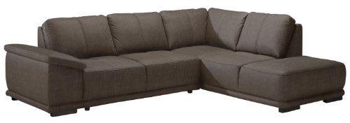 CAVADORE Ecksofa Calypse mit Ottomane rechts/Braunes Sofa im modernen Design/273 x 83 x 214 (BxHxT)/Strukturstoff braun