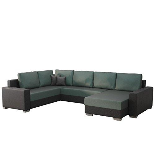 Ecksofa Olga SALE!, Elegante BIG Couch, Design U-Form Eckcouch, Ecksofa, Farbauswahl, Wohnlandschaft (Ecksofa Rechts, Hippo Black + Elite Charcoal)