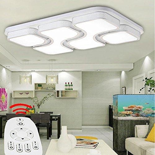 ETiME 64W Design LED Deckenlampe dimmbar mit Fernbedienung Led Deckenleuchte Wohnzimmer Lampe Schlafzimmer Küche Leuchte 2700-6500K Weiß Rechteck (78x53cm 64W Dimmbar)