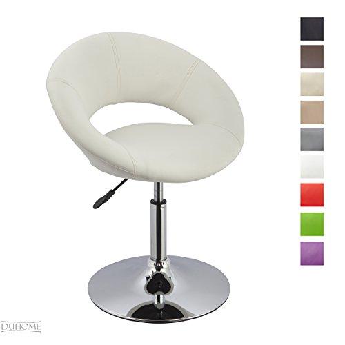 Esszimmerstuhl Clubsessel Weiß Kunstleder höhenverstellbar Lounge Sessel drehbar - TYP 439S