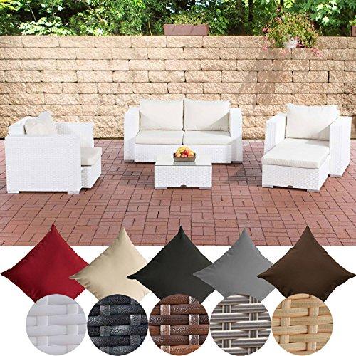 CLP Gartengarnitur Sunset | Sitzgruppe mit 4 Sitzplätzen | Gartenmöbel-Set aus Polyrattan | In verschiedenen Farben erhältlich Weiß, Bezugsfarbe: cremeweiß