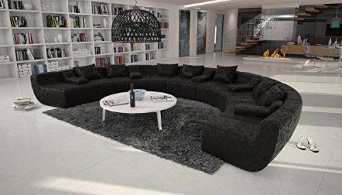 Große Wohn-Landschaft mit Microfaser Bezug schwarz 400x265 cm U-Form   Terassi-U   Moderne Sofa-Garnitur XXL 100% Polyester   Polster-Couch für Wohnzimmer schwarz 400cm x 265cm