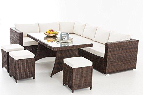 CLP Gartengarnitur SORANO   Sitzgruppe mit 8 Sitzplätzen   Gartenmöbel-Set aus Polyrattan   In verschiedenen Farben erhältlich Bezugfarbe: Cremeweiß, Rattanfarbe: Braun-meliert