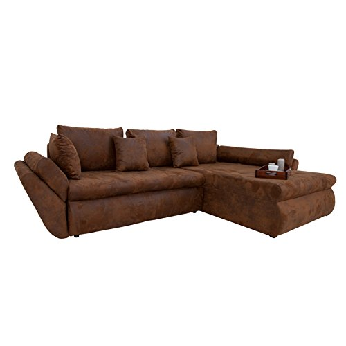 Design Ecksofa RODEO coffee used look mit Schlaffunktion Sofa Eckcouch Couch